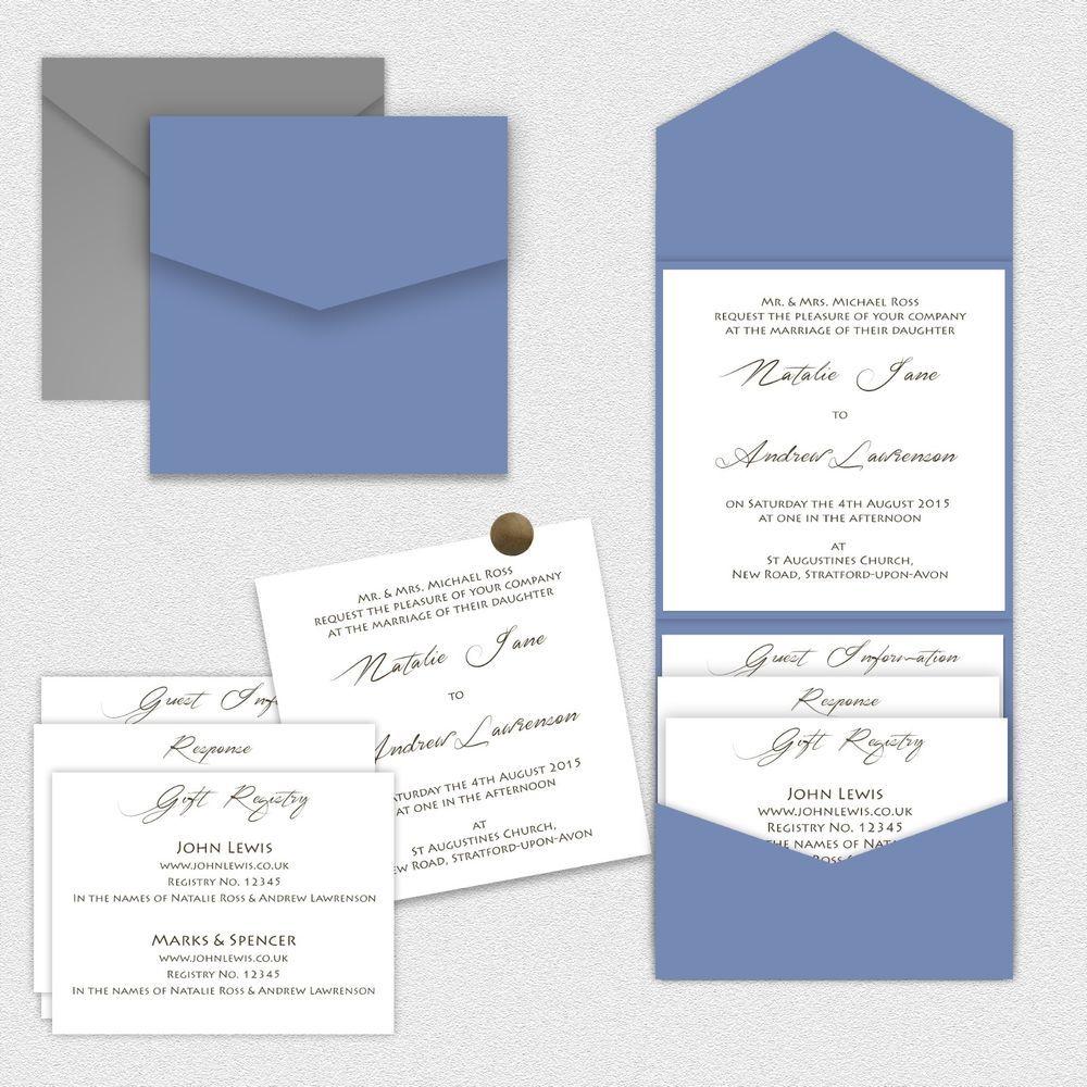Printing Your Own Wedding Invitations: Sample Print-Your-Own Cornflower Blue Pocketfold Pocket