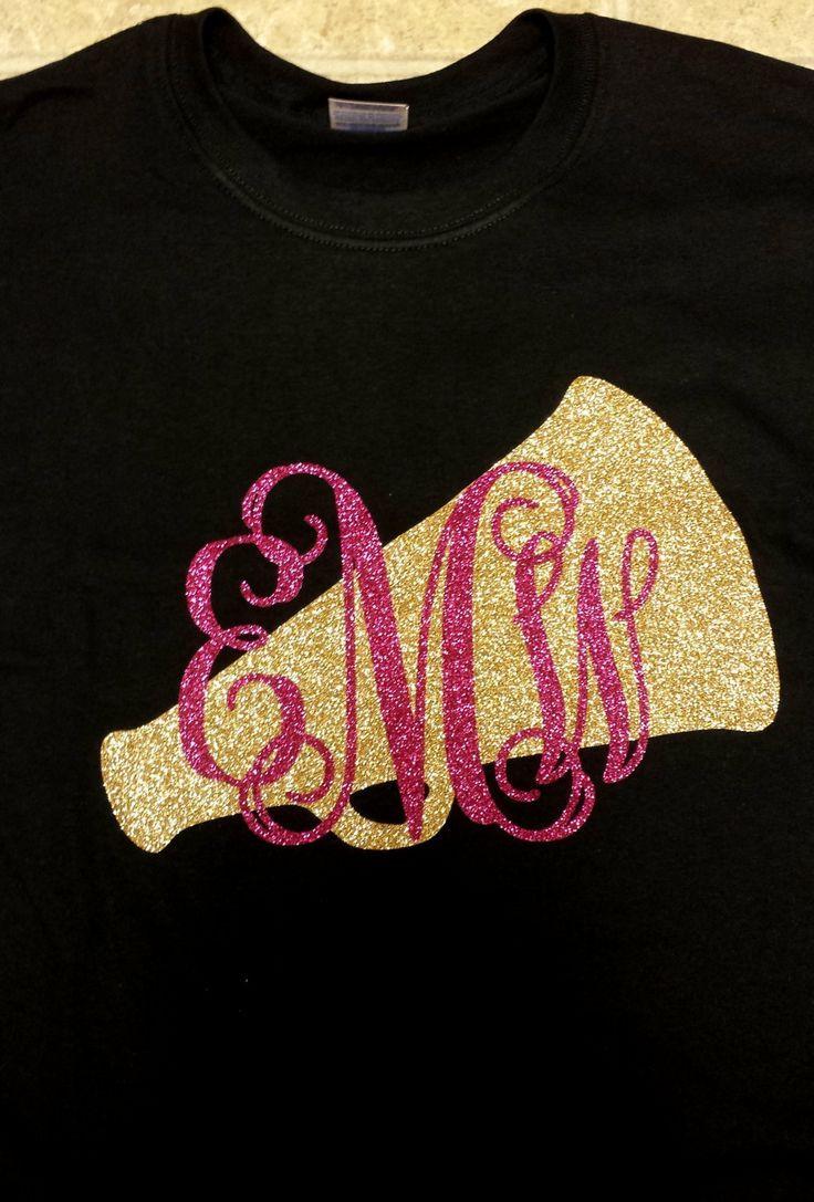 Megaphone Glitter Shirt With Initials By Tay2002designs On Etsy 26 00 Cheer Mom Shirts Cheer Shirts Cheerleading Shirts