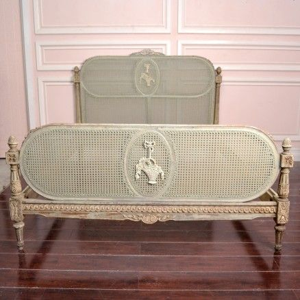 Gorgeous Vintage Queen Cane Bed Frame in Sage $1,095.00 #thebellacottage #OOAK