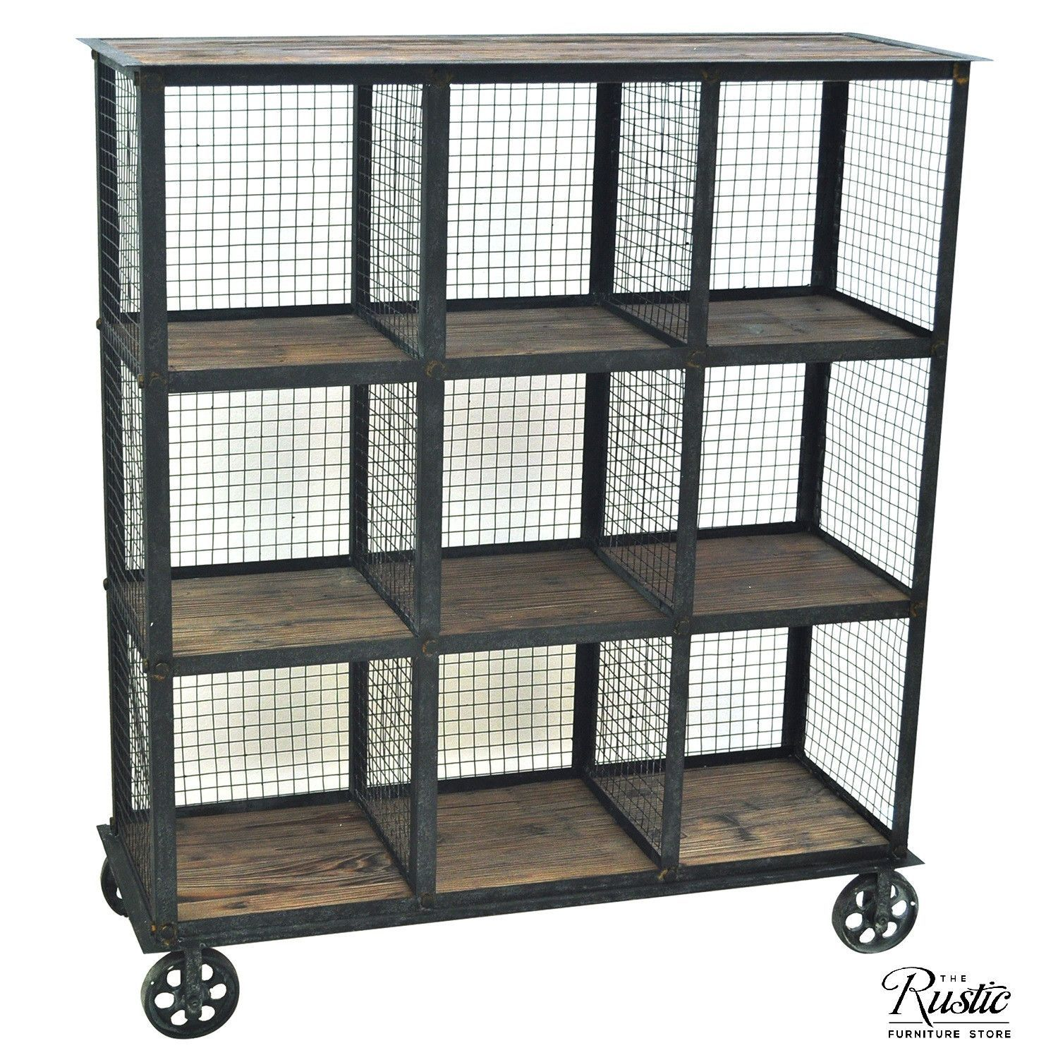 Industrial Metal And Wood Bookcase On Wheels By Crestview Collection Moveis Industriais Sala De Estar Industrial Ideias Estantes