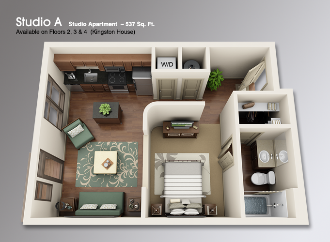 studio apartment 3d floor plans - google search | house plans