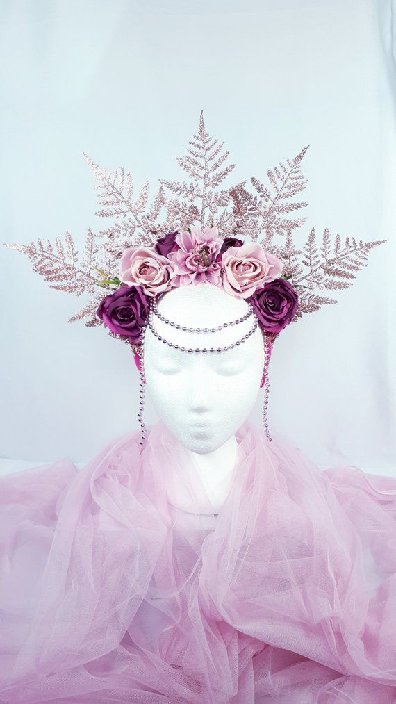 Rose Gold and pink Fairy headpiece, Spring Goddess Halo Headdress, Fairy Queen crown, Pink Gold fern woodland fairy two sided headpiece.