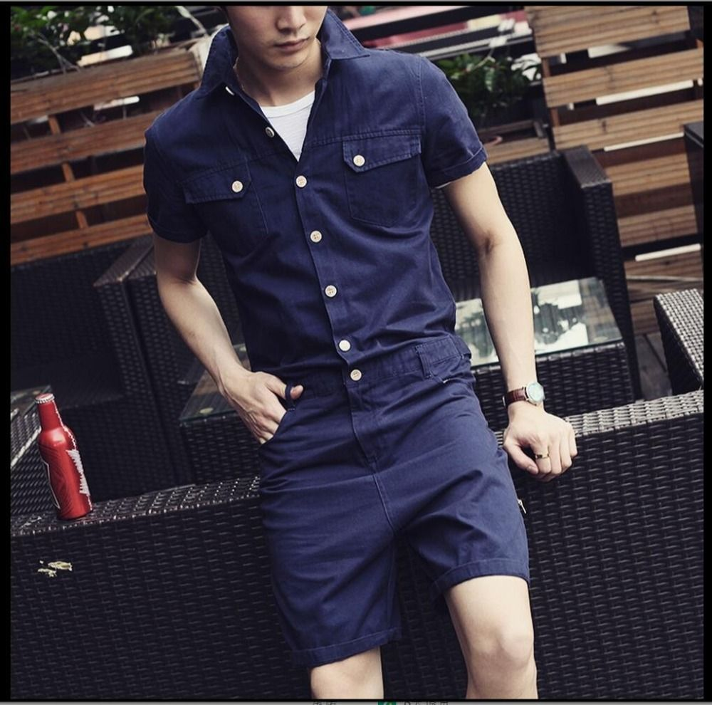 Hot new men and women overalls siamese pants casual slim sleeve