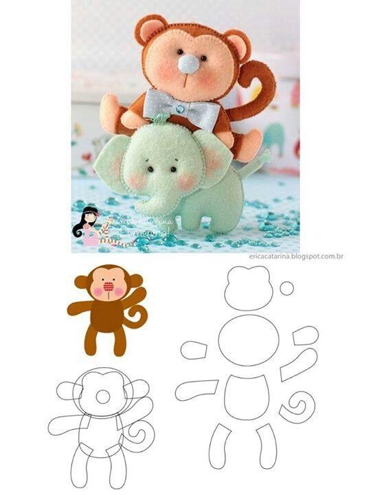 mono arriba de elefante | accesorios para bebe | Fieltro, Patrones y ...