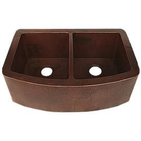 novatto redondeado 33 in x 22 in copper double equal bowl on farmhouse sink lowest price id=77931