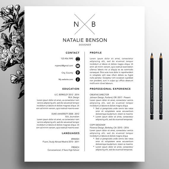 modern resume template  cover letter template for word  professional resume template design