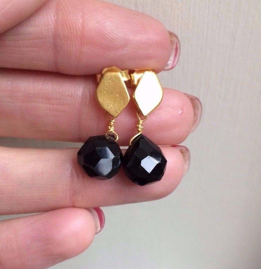 Matt Gold Plated stud and Black Onyx earrings