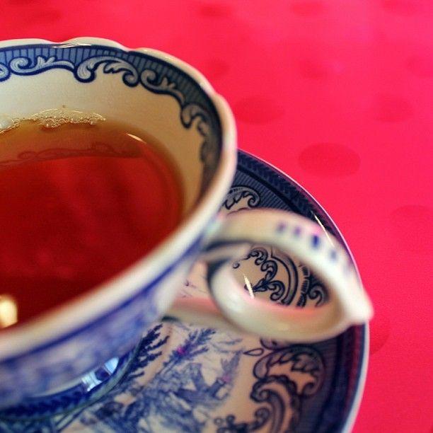 "@_katiehiggins_'s photo: ""#teacup #tea #vintage #polkadots #tablescape #pink"""