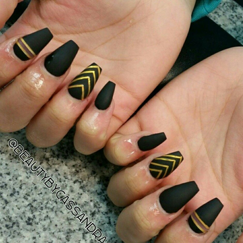 Fancy Black Nails With Gold Design Embellishment - Nail Art Ideas ...
