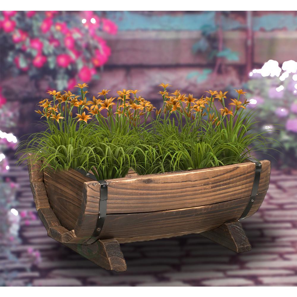 Gardenised Half Barrel Garden Planter Set Of 3 Qi003140 3 The Home Depot In 2020 Barrel Garden Planters Door Planter Unique Front Doors