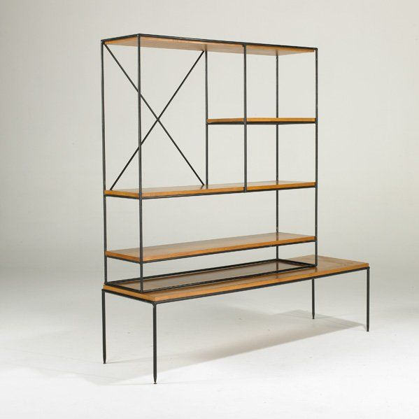 Paul McCobb, Maple and Enameled Steel Shelving Unit for