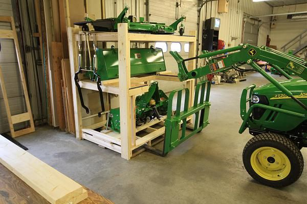 Image result for tractor attachment storage ideas shop