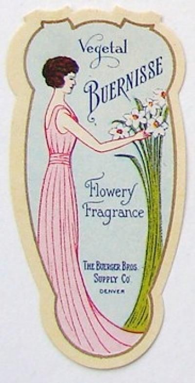 VEGETAL BUERNISSE Vintage Perfume Label