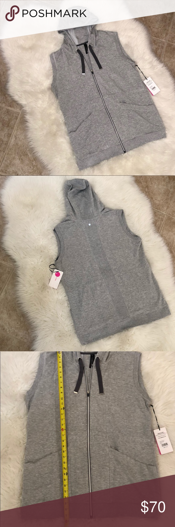de908f2f1a508 Yogalicious Sleeveless Tunic Zip Hoodie 1X NWT! Yogalicious Sleeveless  Tunic Zip Hoodie 1X NWT! Heather Grey. Super comfy!!! Yogalicious Tops