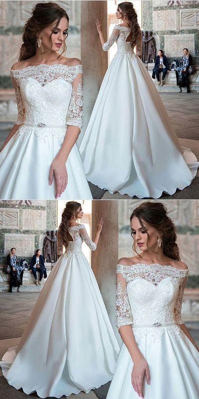 Elegantes Ballkleid mit halben Ärmeln aus weißer Spitze und schulterfreiem Brautkleid mit Applikationen A0327 von ModelDressy #spitzeapplique