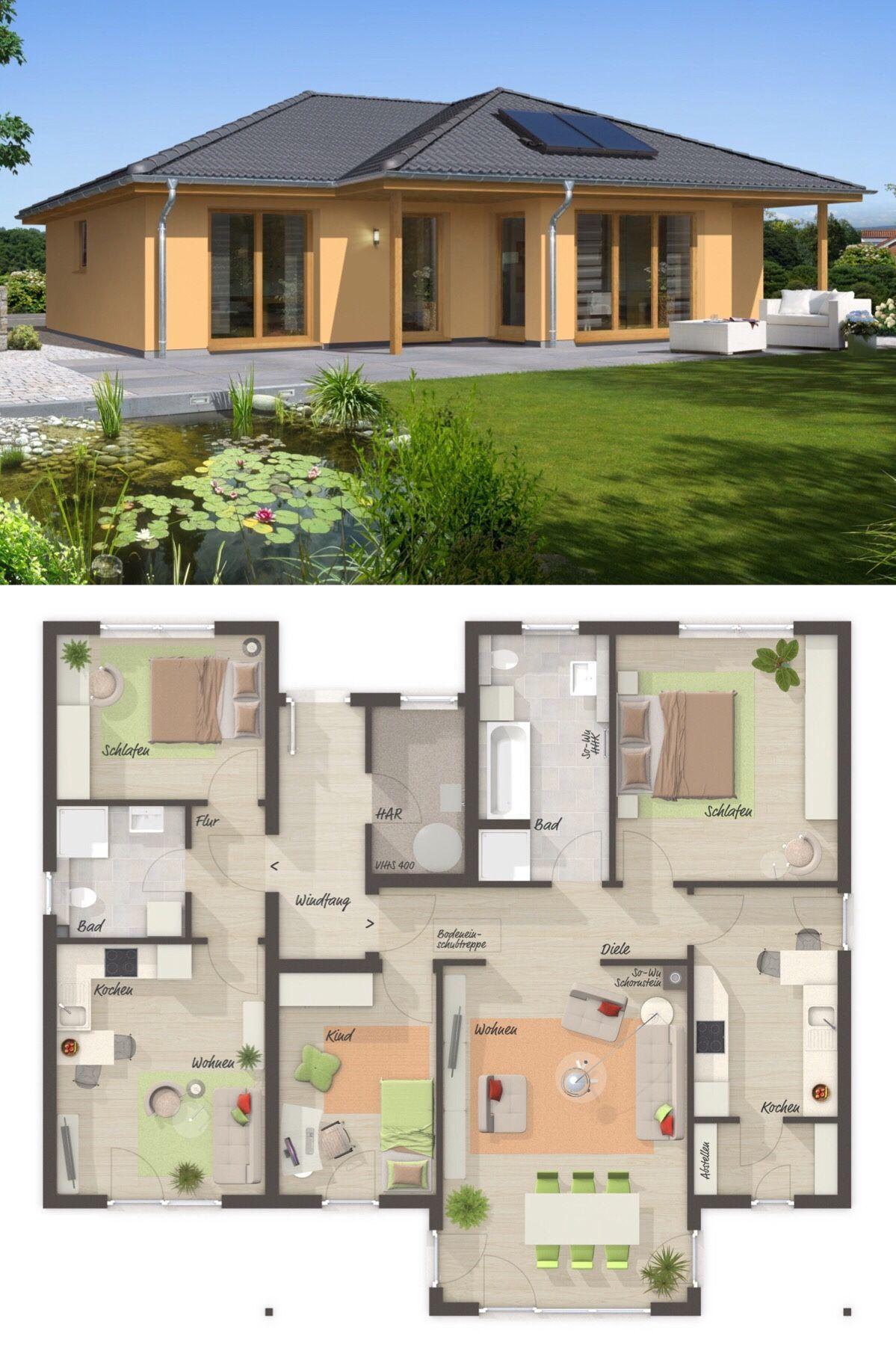 Bungalow mit Einliegerwohnung & Walmdach Architektur