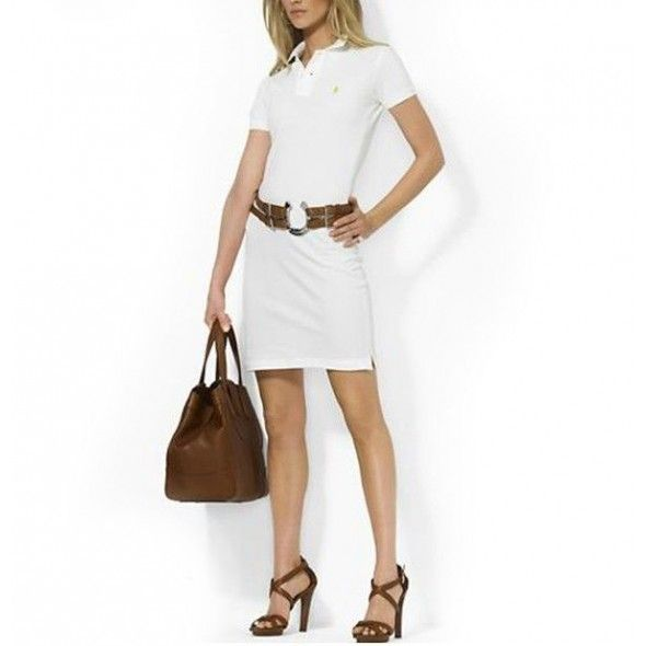Ralph Lauren Women White Mesh Polo Collar Dress!$38.30