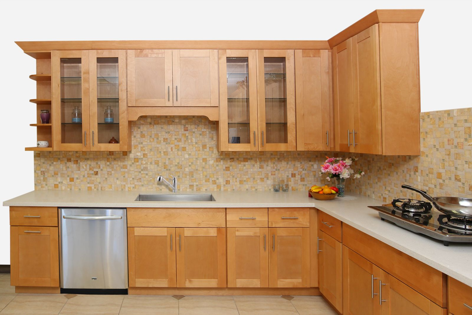 Honey Shaker Maple Cabinets | Ready To Assemble Kitchen Cabinets ...