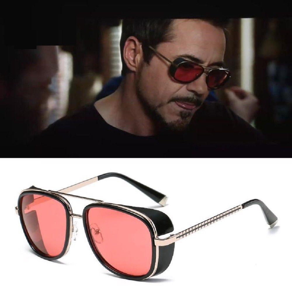 668a704dfca Iron Man 3 Sunglasses Tony Stark Robert Downey Aviator Driving Goggles Red  Lens  Samjune  Goggle