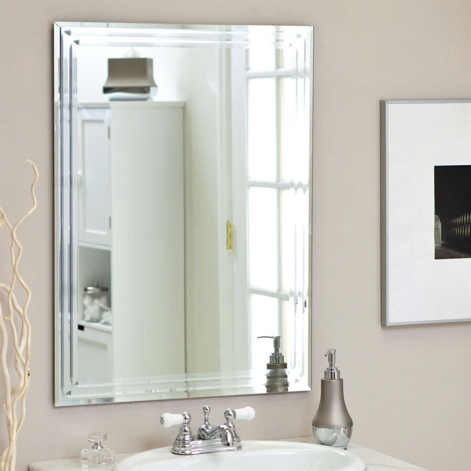 Rectangular inch bathroom vanity wall mirror with triplebevel
