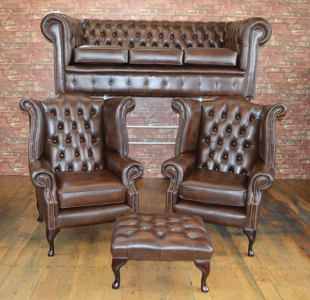 Chesterfield leather 4 piece suite chair sofa bnew in