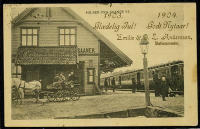 """SAANER Stasjon. Godt kort med påtrykt julehilsen fra """"Emilie & O.L.Anderssen, stationsmester"""" . Stpl. Saaner 22.XII.1903"""