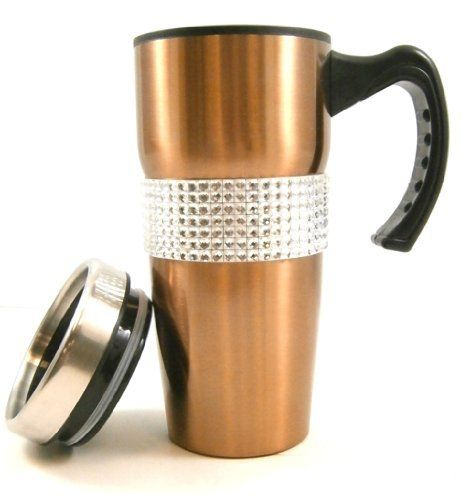 19639fe66a6 Gold Crystal Rhinestone Diva Coffee Mug Drink Tumbler with Handle and Lid  by Crystal Case.