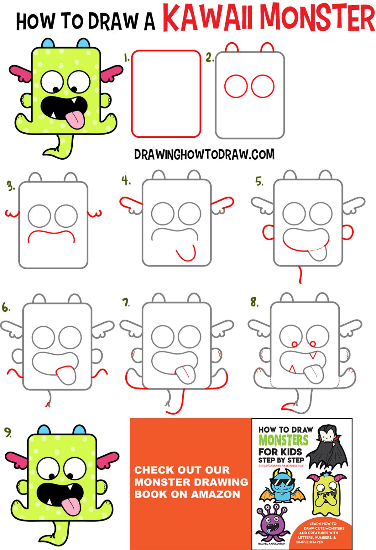 How To Draw A Cute Kawaii Monster With Easy Step By Step Drawing
