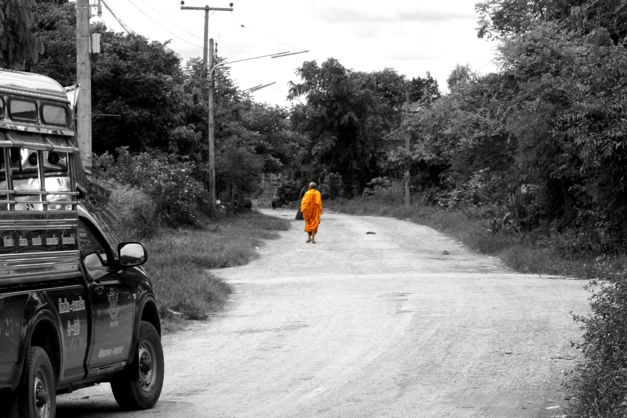 Monk walking in Thailand, poster for wall