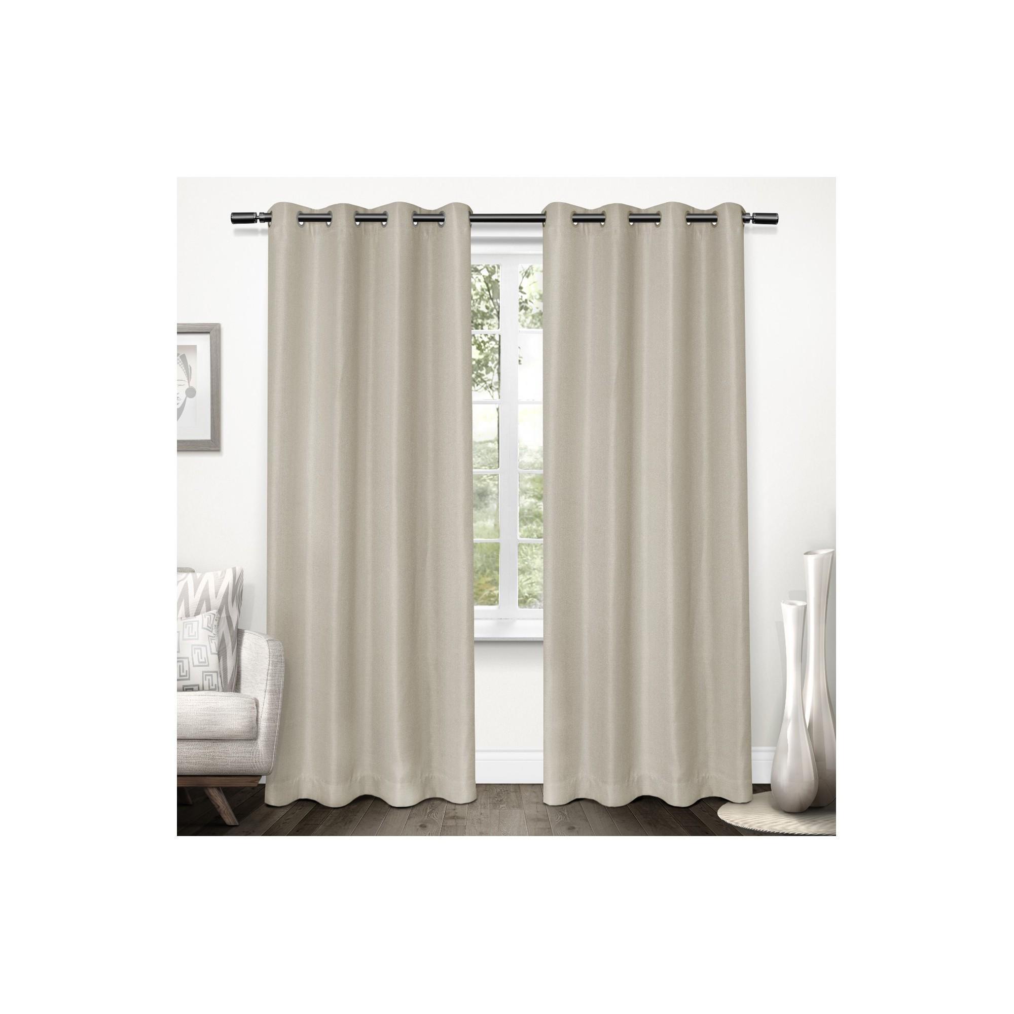 Tweed textured linen woven blackout grommet top window curtain panel