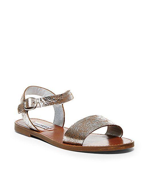 eb8477769c9 Donddi black leather | Steve Madden | Leather sandals flat, Sandals ...