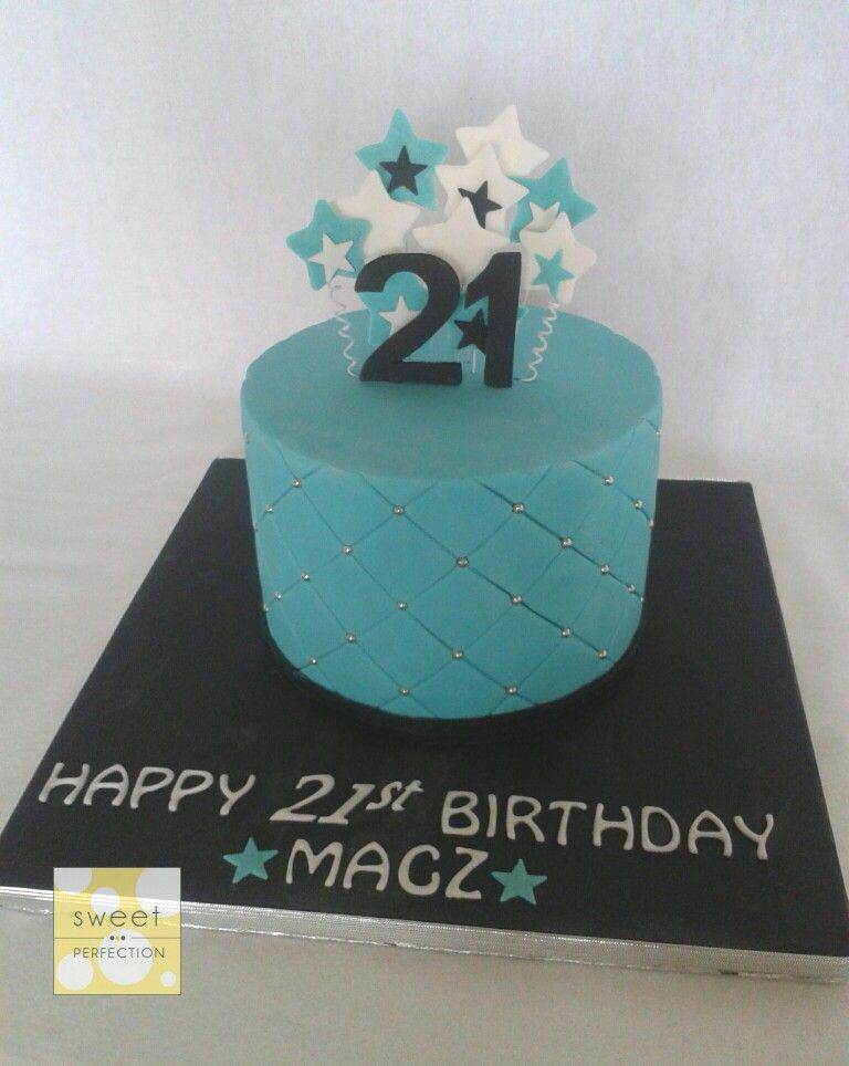 Small 21st Birthday Cake In Teal Turquoise Black And White Cushion