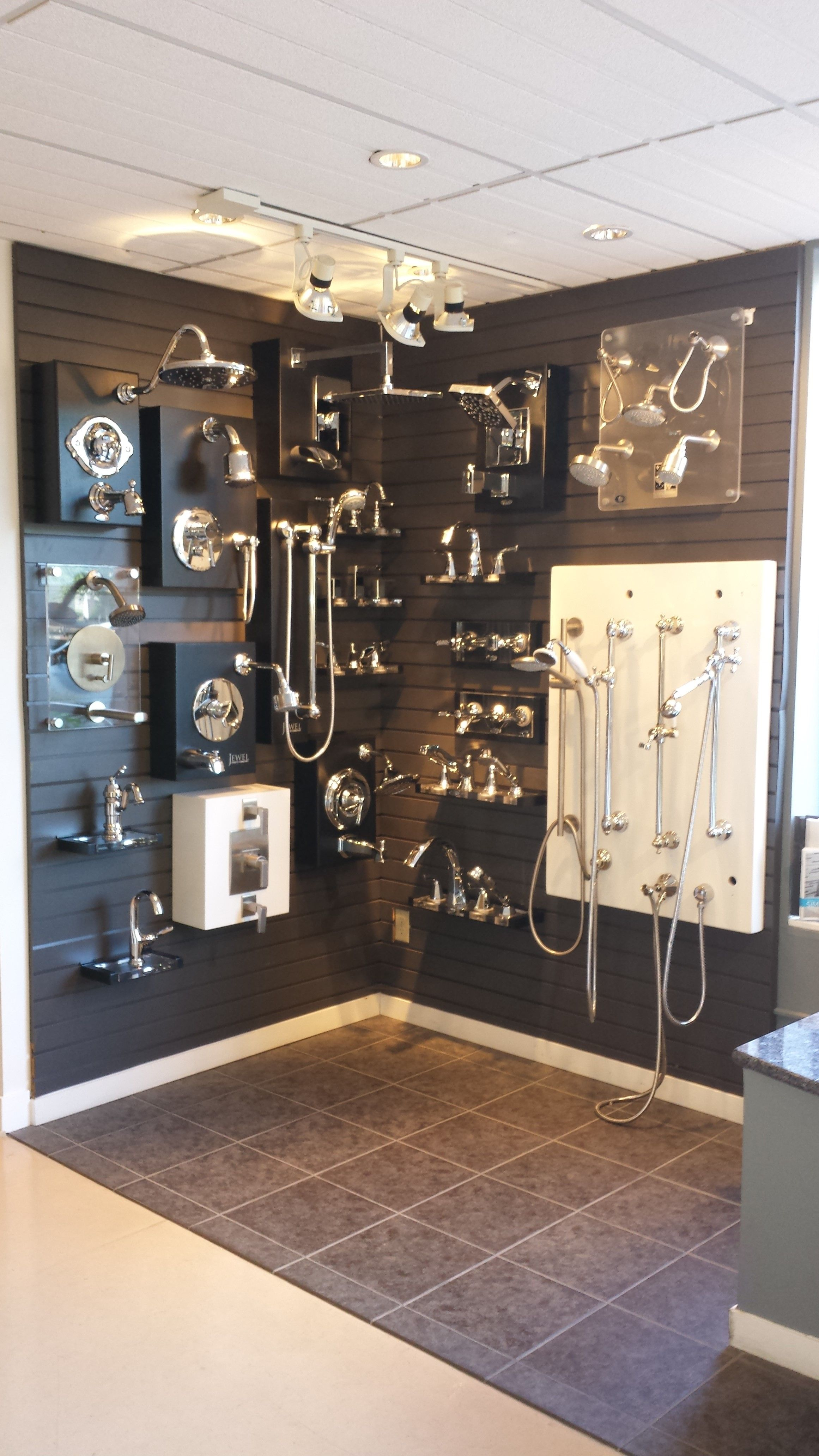 Shower fixtures by Moen  California Faucets and Jewel on display at Best  Plumbing in Seattle. Shower fixtures by Moen  California Faucets and Jewel on display