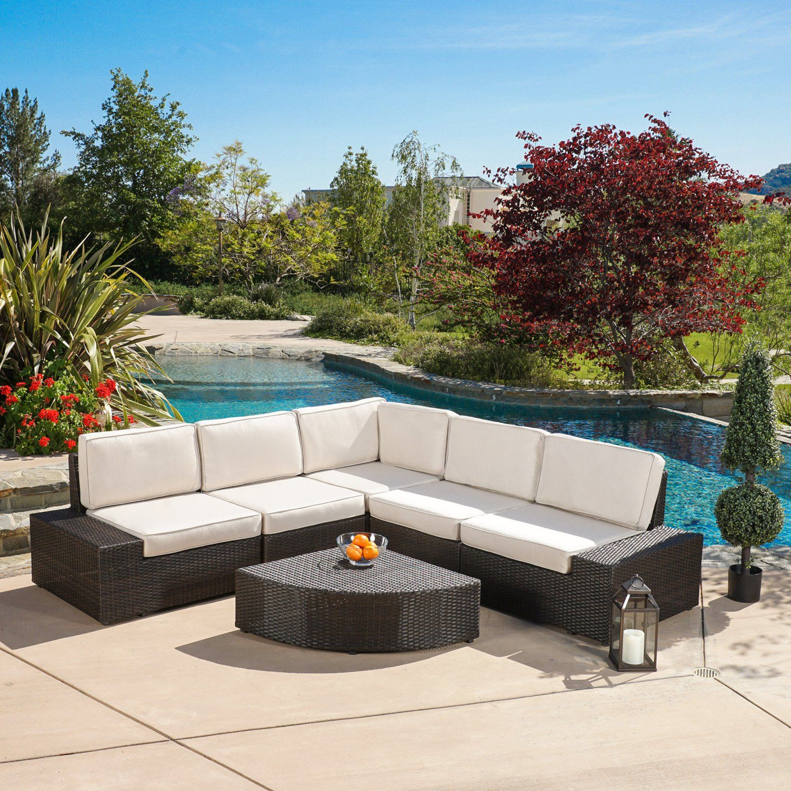 Zora Outdoor 6 Piece Sofa Conversation Set Sectional Patio