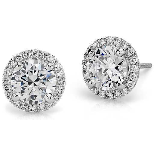 Build Your Own Earrings Setting Details Halo Diamond Earrings Diamond Earrings Diamond Studs
