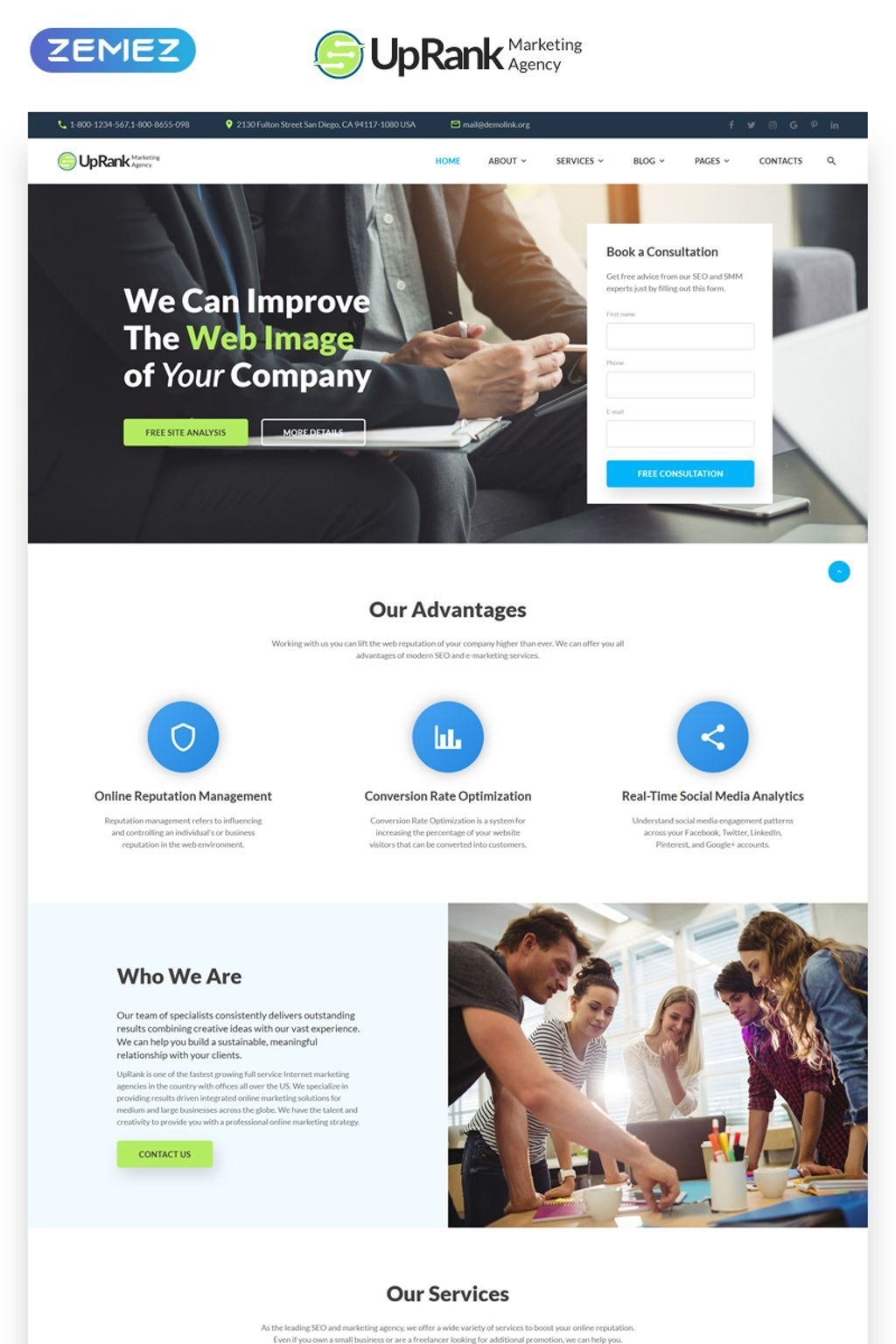 uprank - stylish marketing agency multipage website template big