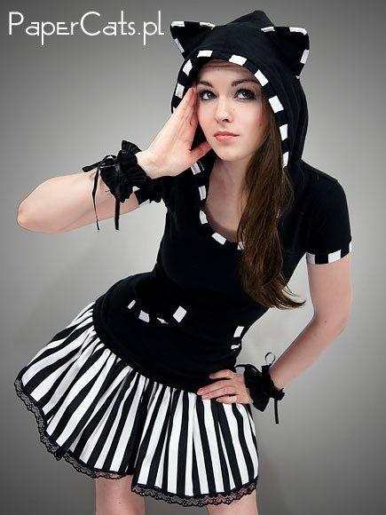 Kawaii Black Stripey Cat Shirt/Hoodie. $45.00, via Etsy.  http://www.etsy.com/listing/107128103/s-size-black-cat-shirt-hoodie-stripes#
