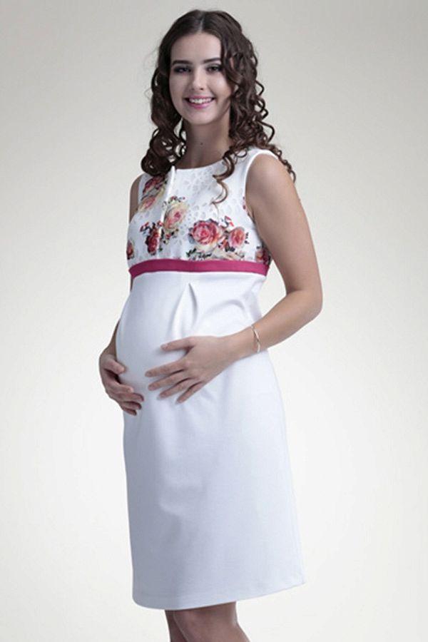 Bílé elegantní těhotenské šaty s motivem květin  31c0a8fa71