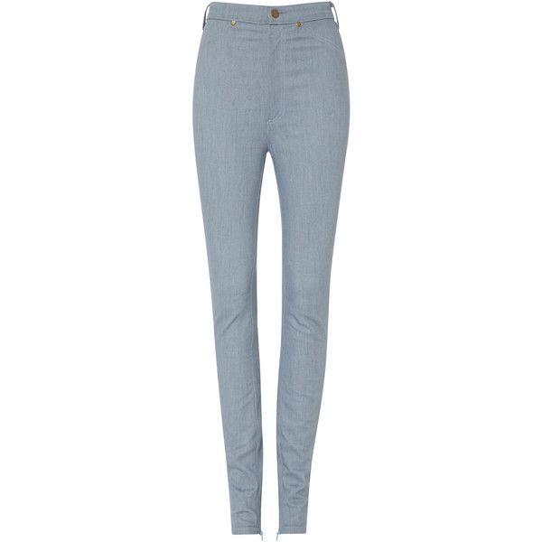 Rodarte Light Blue Denim Pants (1.295 BRL) ❤ liked on Polyvore featuring pants, high rise pants, high waisted trousers, rodarte, high-waisted pants and blue pants