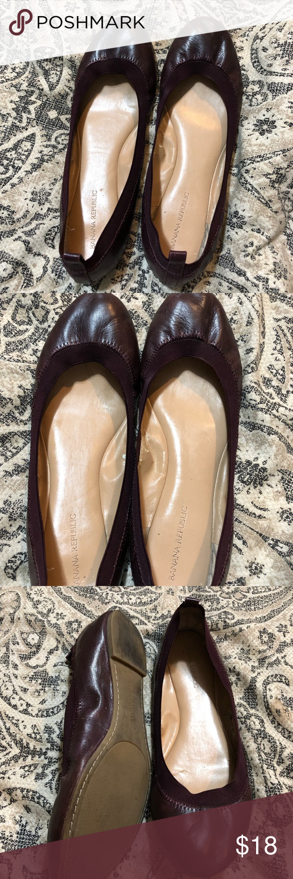 f07a8f5aad23 Banana Republic Leather Abby Flat in Oxblood Banana Republic Abby Leather  Ballet Flat in Oxblood.