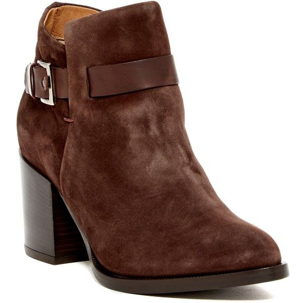 Alberto Fermani Nina Ankle Boot ($250) ❤ liked on Polyvore featuring shoes, boots, ankle booties, ankle boots, ebano, high heel booties, high heel boots, pointed toe booties, faux-leather boots and block heel booties