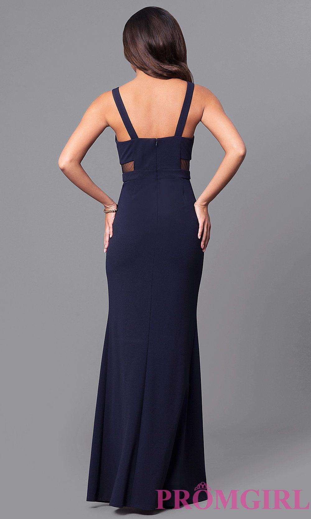 Image of long navy blue prom dress with sheer side cut outs style