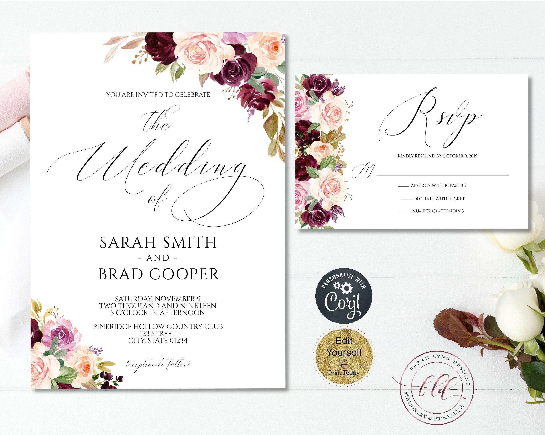 Purple And Pink Floral Wedding Invitation Set Printable Wedding Invitation Wedding Invitation Card Template Printable Wedding Invitations Wedding Invitations