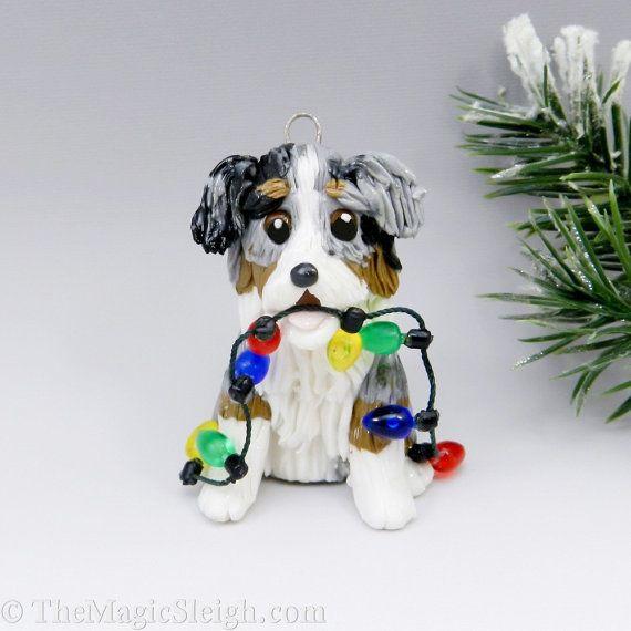 Australian Shepherd Ornament Merle Christmas Lights Porcelain on Etsy,  $23.00 - Australian Shepherd Ornament Merle Christmas Lights Porcelain