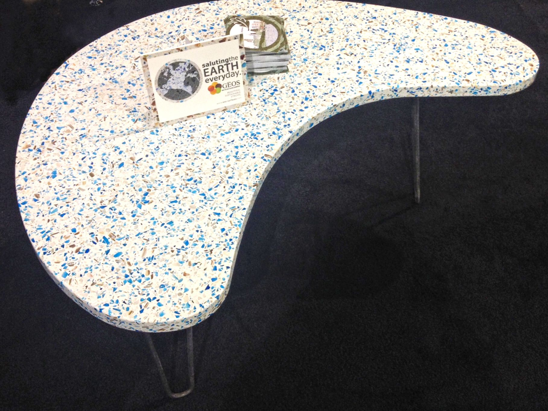 This Table Features Geos Recycled Gl Surface In The Striking
