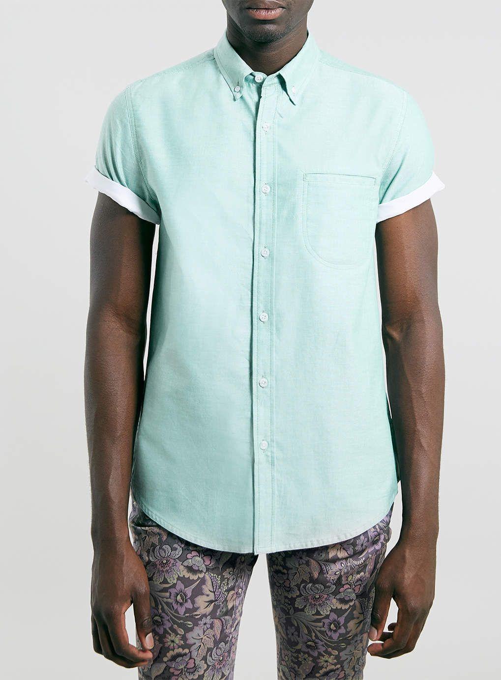 Green Contrast Oxford short sleeve Shirt - Topman