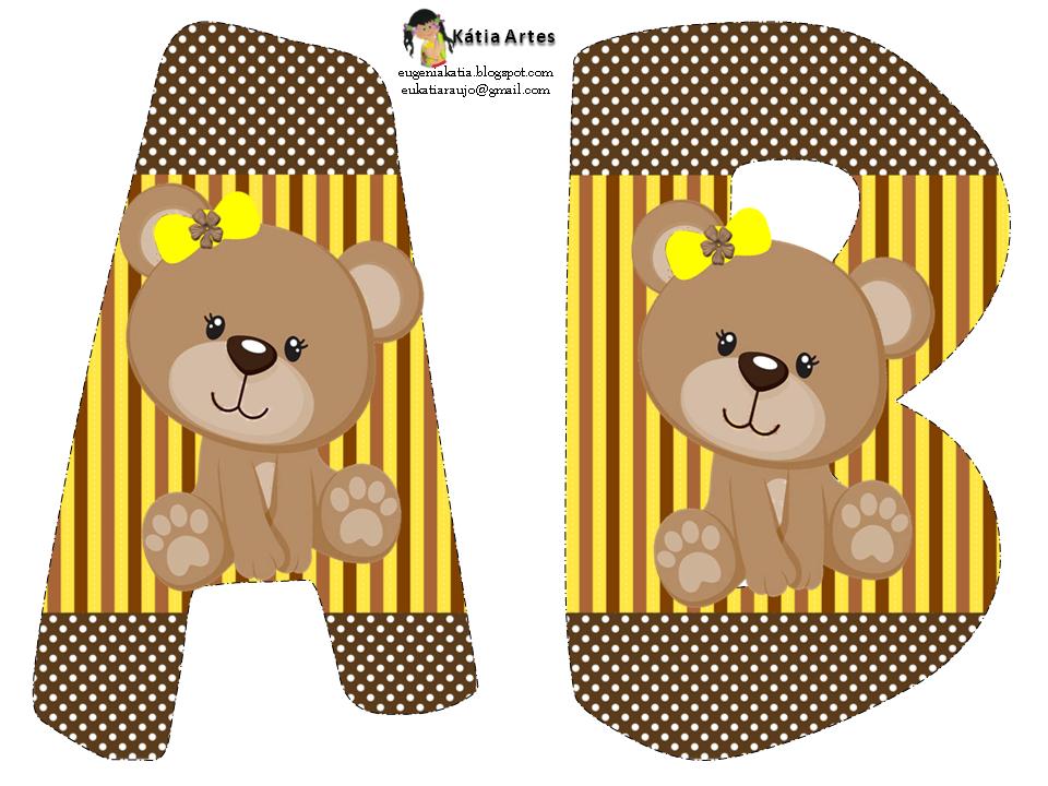 Alfabeto Ursinha Marrom E Amarelo Urso Marrom Moldes Urso E
