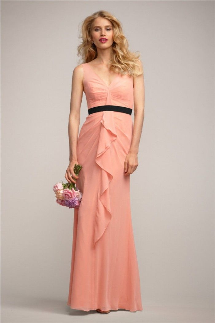 BDUK2250 A Line Nude Pink Chiffon V Neck Short Sleeve Long