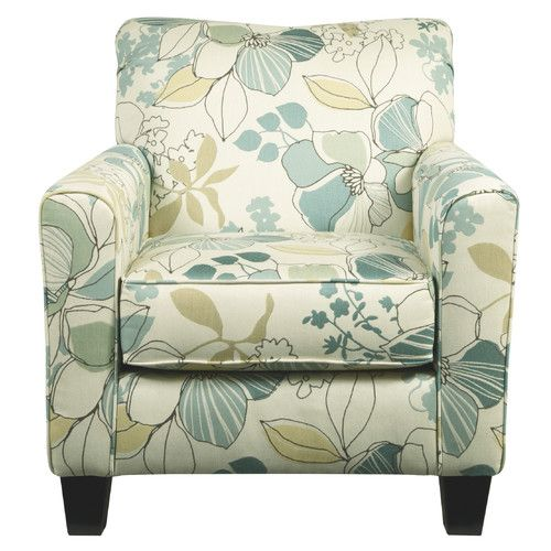 Features Floral Accent Chair In Polyester Rayon Upholstery