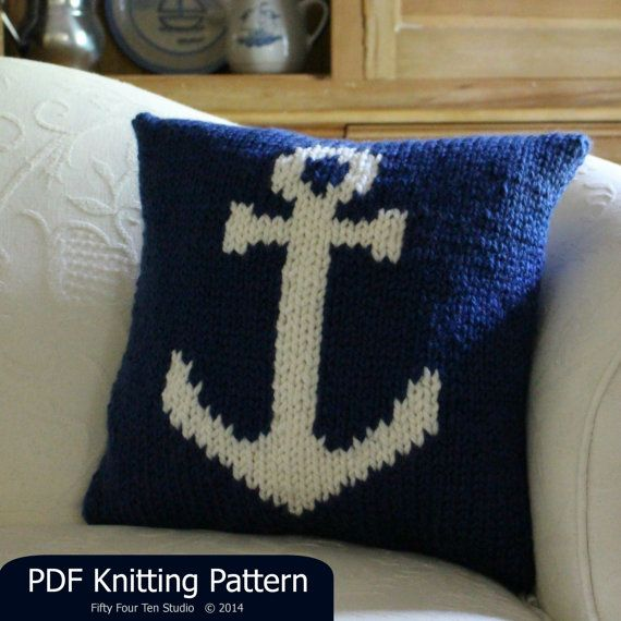 The Anchor Pillow knitting pattern. Super bulky yarn. Intarsia knitting pattern. Perfect for & The Anchor Pillow knitting pattern. Super bulky yarn. Intarsia ... pillowsntoast.com